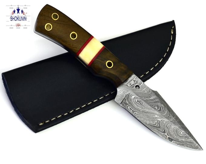 "8"" Damascus steel walnut wood handle hunting knife"