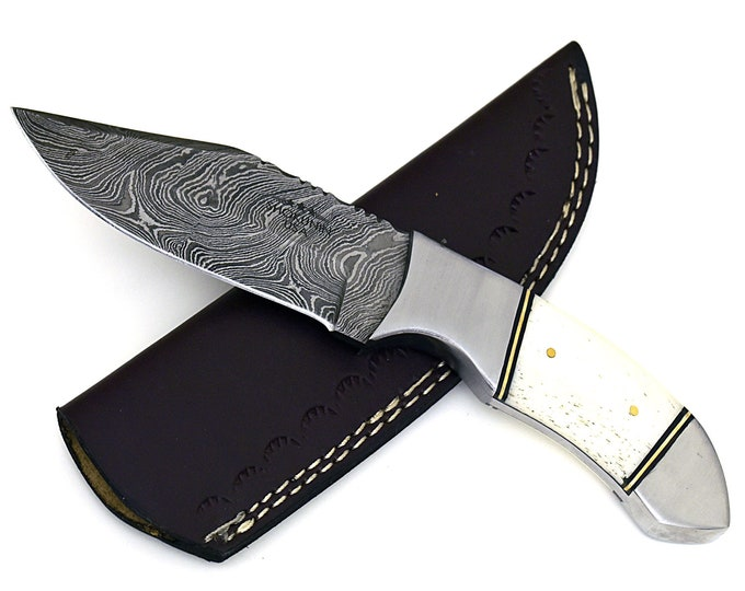 "Tomahawk damascus steel hunting knife, DAMASCUS KNIFE, CLIP point, new, 9"", tactical camping utility knife"
