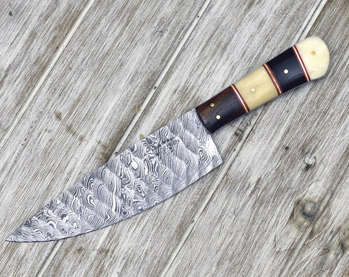 "DAMASCUS STEEL pro CHEF'S knife, 10"", Damascus knife for kitchen, Composite handle horn bone wood, personalized chef knife, leather sheath"