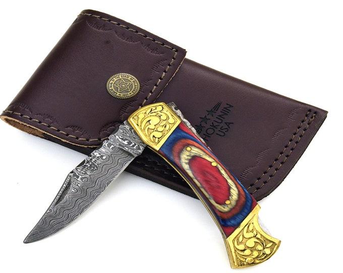 "DAMASCUS Knife, Folding knife, Pocket knife, EDC damascus steel hunting utility knife tactical camping knife 7"" Every day carry WOOD"