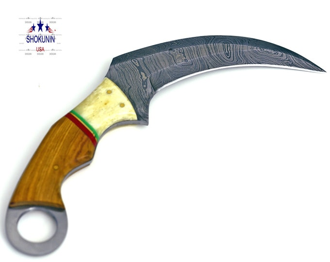 Crow, HAND FORGED Damascus steel karambit hunting knife with olive wood & bone handle