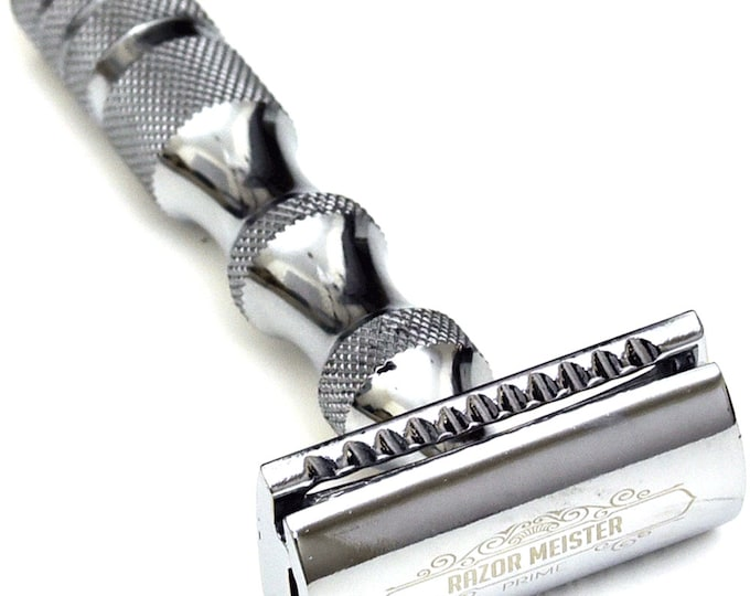 Double Edge Razor, RAZOR MEISTER PRIME, double edge safety razor, German Stainless Steel handle, closed comb 50 derby blades
