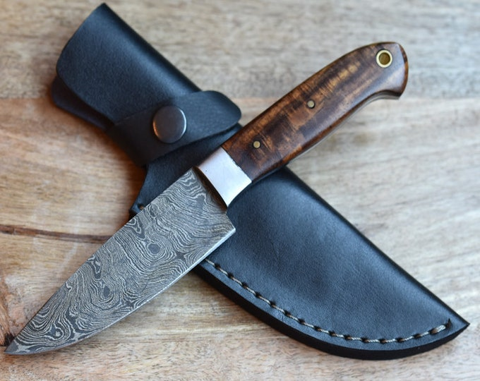 "Chef knife 4"" Professional, Damascus knife, French chef knife, Hand forged Damascus steel knife utility knife pairing knife walnut wood"