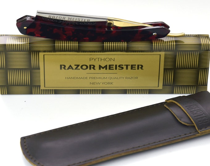 RAZOR MEISTER PYTHON german high speed steel, shave ready, faux tortoise shell handle straight razor, groomsmen gift, personalize razor