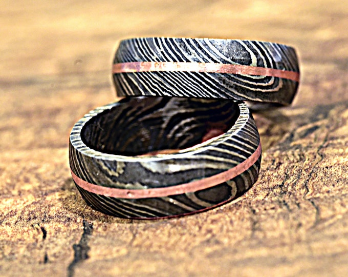 Hand Forged & Finished Damascus Steel Ring, Damascus Ring, Copper Inlay Hand Carved, US size 9 ring, wedding band, engagement ring