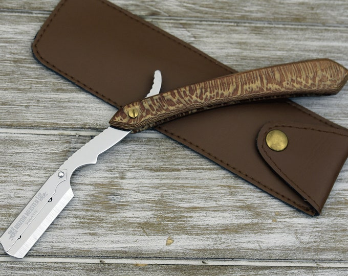 LASER ENGRAVED, Personalized Straight Razor, Disposable blade Straight Razor, Exotic Leopard Wood Handle