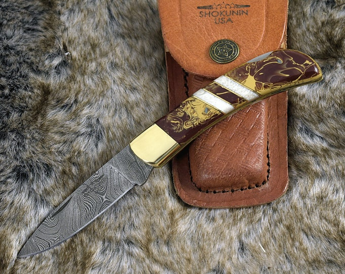 "DAMASCUS Knife, Folding knife drop point, Pocket knife, EDC damascus steel hunting utility knife tactical camping knife 7"" Every day carry"