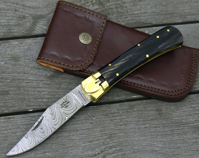 "CUSTOM 9"", Switchblade, Damascus Folding Knife, Every Day Carry, Damascus Pocket Knife, Clip Point Blade, Damascus Knife, personalized"