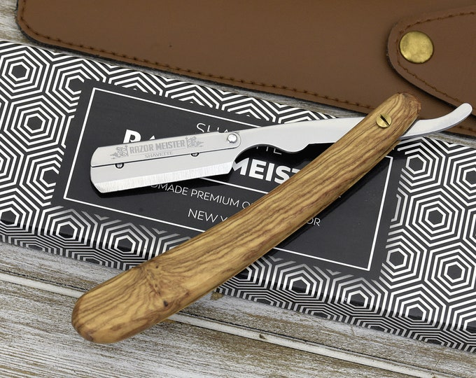 PERSONALIZED, LASER ENGRAVED, Straight Razor, Shavette, Exotic Olive Wood Handle, Shave ready comes with 200 blades