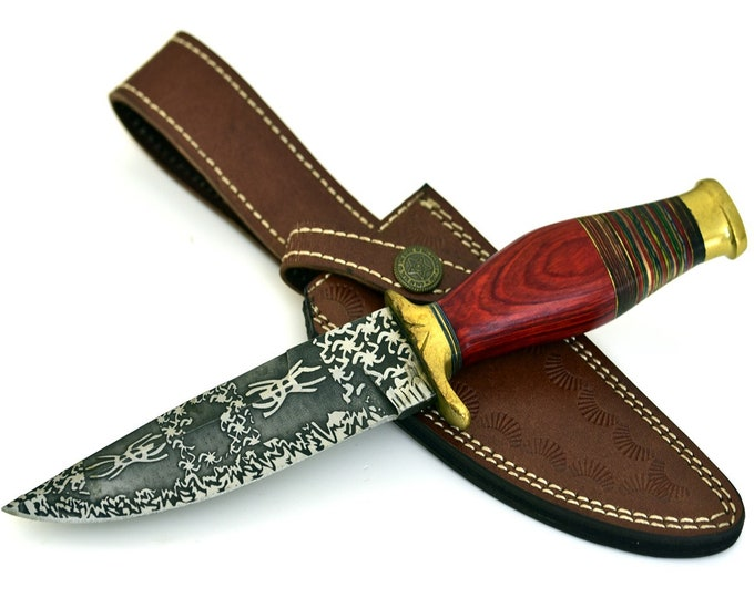 Personalize, ART, HAND FORGED D2 steel hunting knife with multicolor hardwood inlay handle