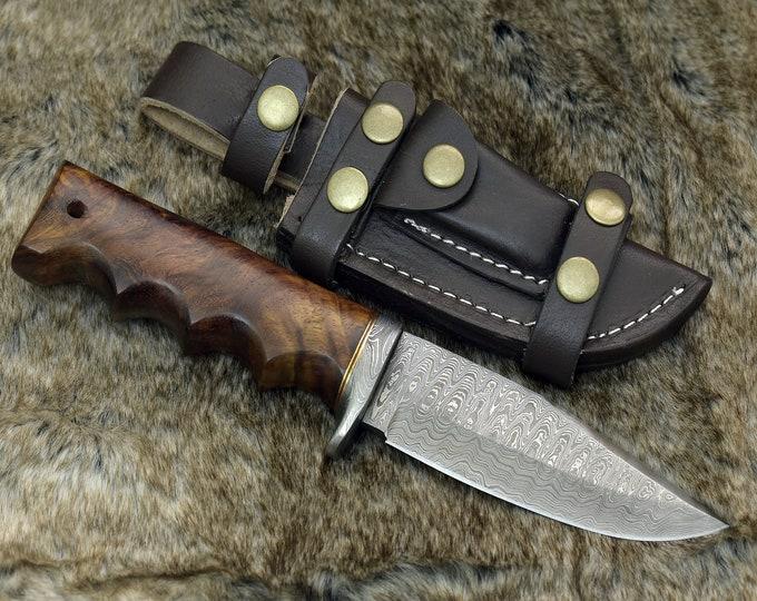 "DAMASCUS HUNTING KNIFE, Custom Damascus knife, 10.0"" ,Hand forged, Damascus steel knife, Damascus Guard, Rose wood handle"