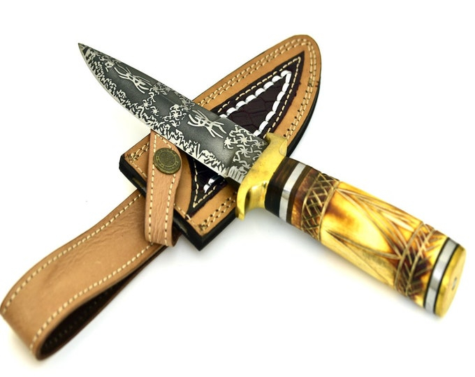 Personalize, ART, HAND FORGED D2 steel hunting knife with hand carved camel bone handle