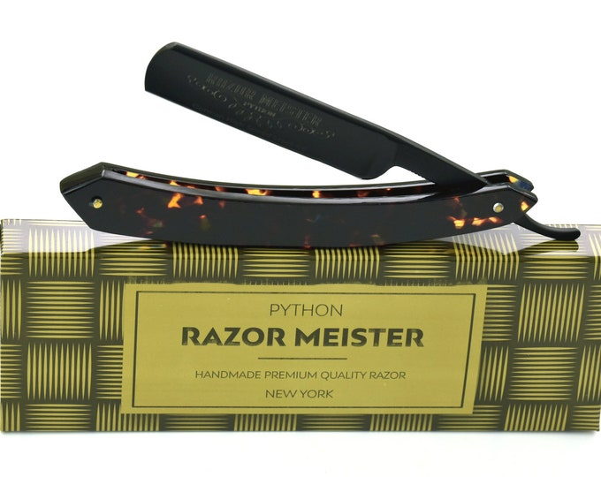 Personalized Straight Razor PYTHON German high speed steel shave ready, Stealth Faux Tortoise Shell handle custom, groomsmen gift, cutthroat