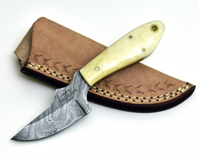 "DAMASCUS KNIFE, 6"" Knife w/ camel bone handle damascus steel blade"