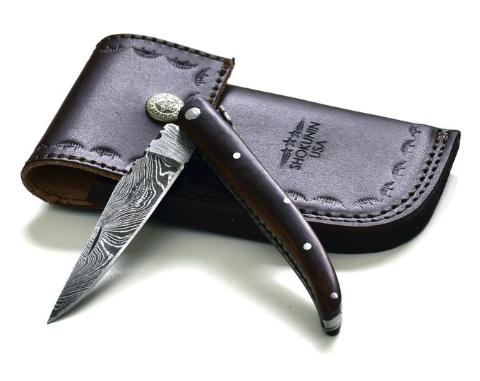 "8.5"" Pocket Knife, laguiole, steak knife, Custom Hand Made Forged Damascus Steel black walnut wood Handle"