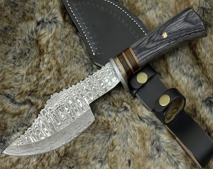 "DAMASCUS AXE, CUSTOM Kitchen axe, 12.0"" , Hand Made, Damascus steel kitchen axe, Damascus Guard, pekkawood handle, full tang"