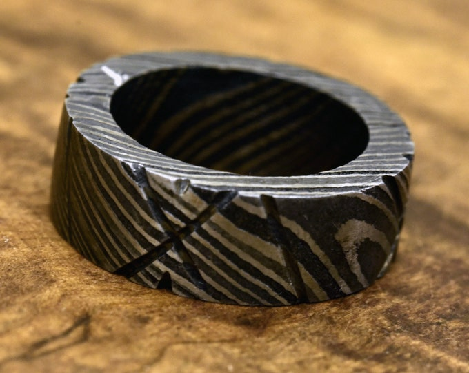 US size 7.5 ring, Damascus Ring, Hand Forged & Finished Damascus Steel Ring, Hand Carved, wedding band, engagement ring, rings, bands