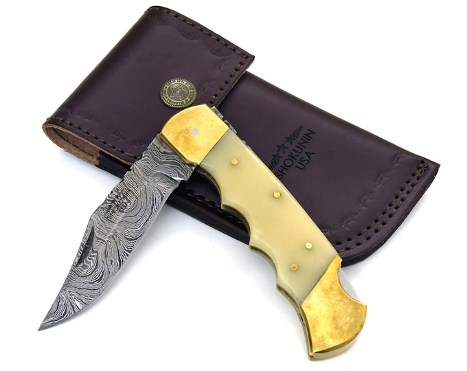 "Pocket knife, Folding knife, damascus steel knife, EDC damascus steel hunting utility knife tactical camping knife 8.75"" Every day carry BON"