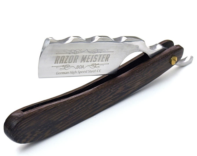 STRAIGHT RAZOR by Razor Meister, BOA, Wenge wood scales, shave ready, custom razor, personalized, hand stitched leather sheath new custom
