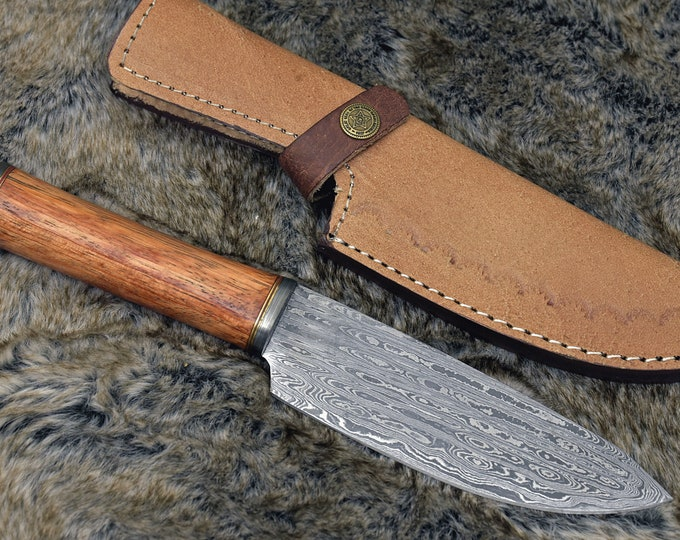 "DAMACUS CHEF KNIFE, Pro chef kitchen knife, 10.5"" Custom, Exotic Red Meranti Wood handle, French chef knife , Damascus Steel knife"
