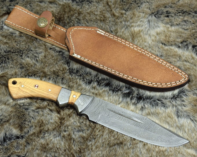 "10.0"", Damascus knife with Exotic Olive wood handle hunting / tactical / survival / custom / personalize Damascus steel BOWIE knife"