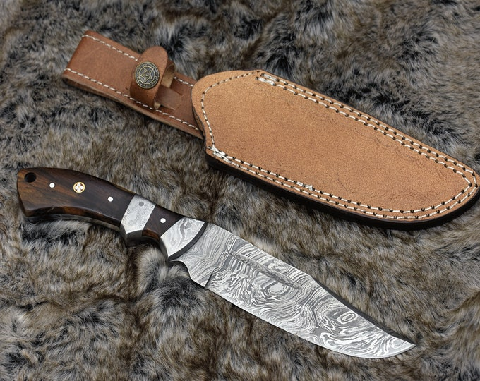 """10.5"""", Custom Damascus knife with Exotic Rose Wood handle hunting / tactical / survival / custom / personalize Damascus steel knife bowie"""