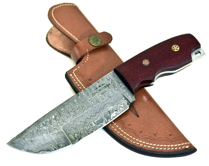 "BUFFALO DAMASCUS KNIFE, Damascus steel tracker knife hunting knife tactical camping utility knife 9"" micarta handle lanyard hole"