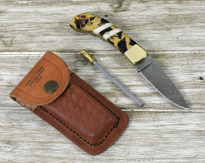 Pocket knife, Damascus folding knife drop point with sheath, everyday carry knife, Damascus folder, Custom hunting utility pocket knife