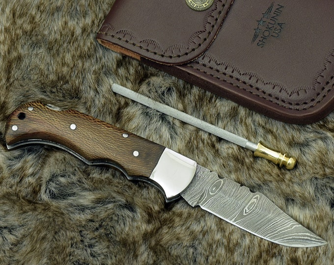 "Damascus pocket knife, 6.5"", Custom, Hunting knife, Damascus Folding knife, Damascus Steel Knife, Damascus knife, Clip Point knife, Lacewood"