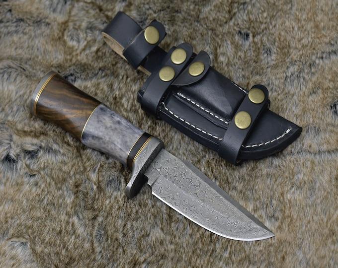 "DAMASCUS HUNTING KNIFE, Custom Damascus knife, 1.0"" ,Hand forged, Damascus steel Bowie knife, Damascus Guard, Exotic camel bone rose wood"