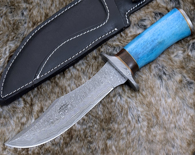 "BOWIE KNIFE, CUSTOM Bowie knife, 12.0"", Damascus steel hunting knife, Damascus Guard & Pommel, Exotic Camel Bone handle, full tang"