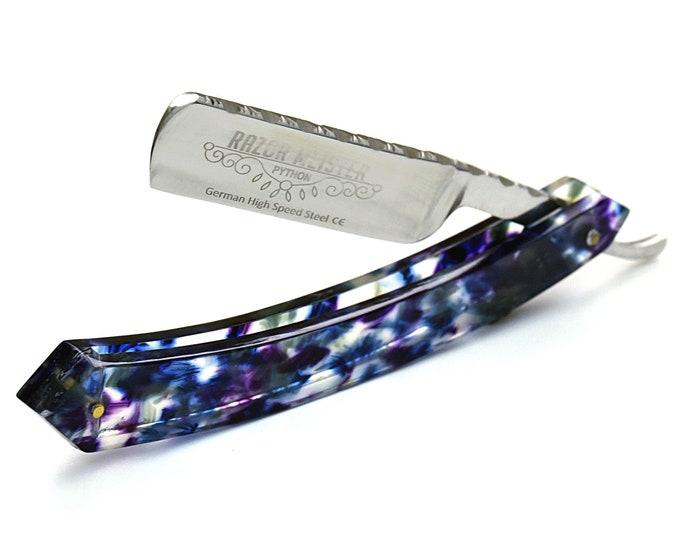 STRAIGHT RAZOR, PYTHON German high speed steel, shave ready, modern tie dye acetate handle straight edge razor, Groomsmen gift, Personalized