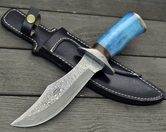 "DAMASCUS KNIFE, CUSTOM Bowie knife, 12.0"" ,Hand Made, Damascus steel hunting knife, Damascus Guard & Pommel, Camel Bone handle, full tang"