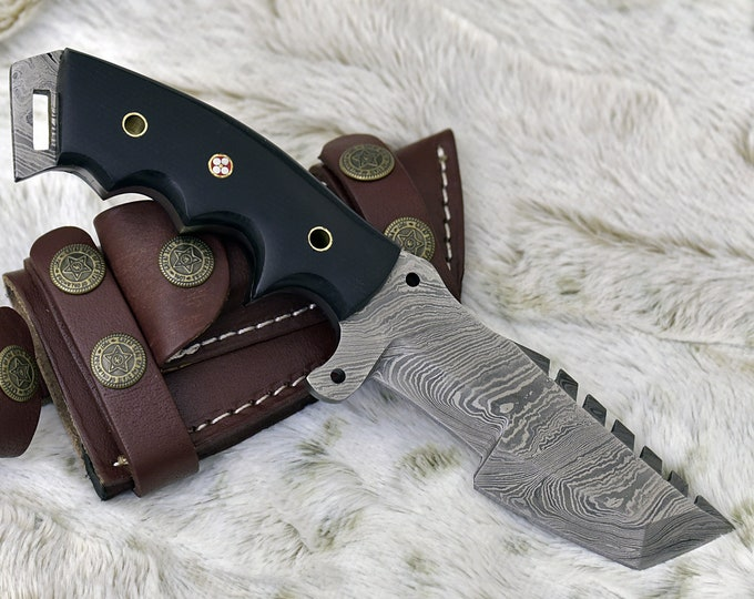 DAMASCUS HUNTING KNIFE, Tracker Knife, Damascus Steel Knife, Damascus Knife, Denim Micarta Scales, Hand Stitched Leather Sheath