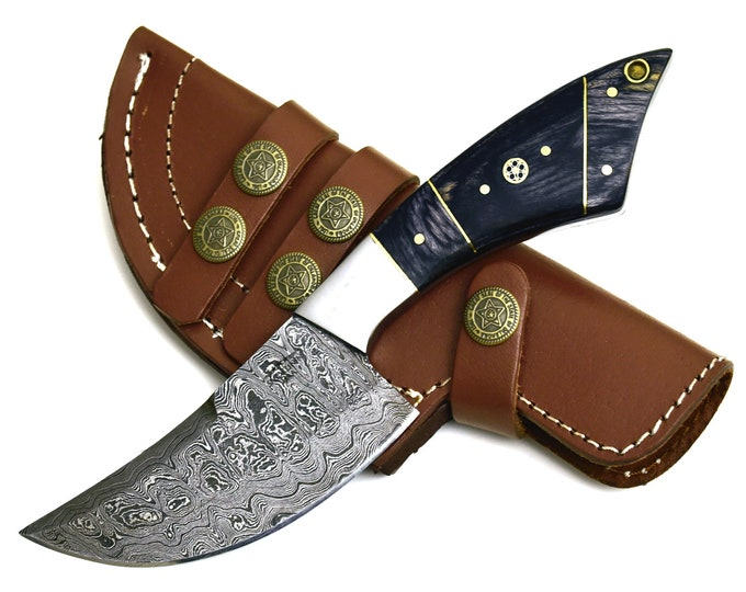 "DAMASCUS KNIFE, DAMASCUS steel knife,  custom blade, hunting knife, skinning, skinner knife camping utility hunting knife 8"" personalized kn"