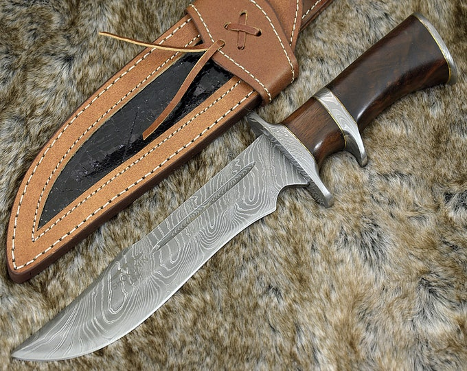 "DAMASCUS HUNTING KNIFE, Custom Damascus knife, 13.0"" ,Hand forged, Damascus steel knife, Damascus Guard & Pommel, Bowie knife"
