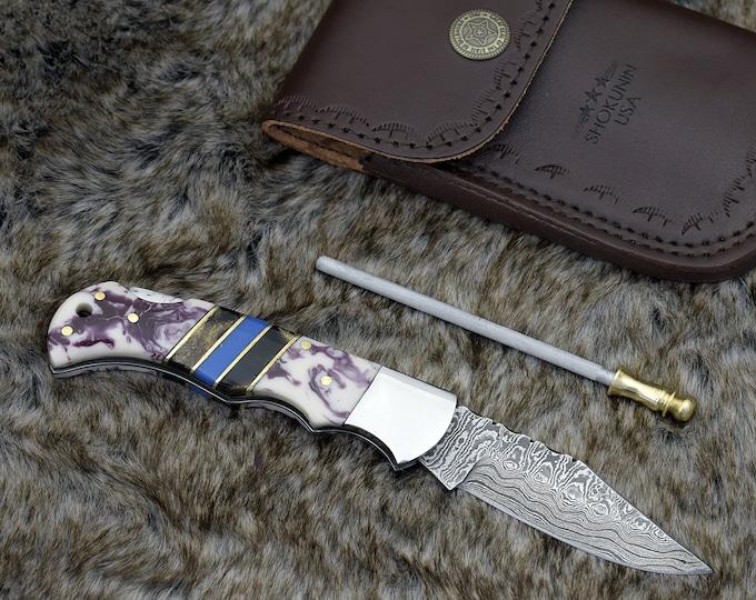 "Personalized POCKET KNIFE 6.5"" Folding Hunting Knife groomsman gift Damascus Steel pocket knife handmade custom knife"