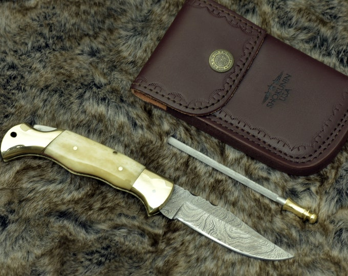 "7.25"" Knife, Folding knife, Damascus Steel clip point blade, handmade, Camel bone scales & brushed brass body, lock back pocket knife"