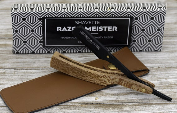 Personalized Black Straight Razor, Shave Ready Comes with 200 blades Straight Razor, Exotic Leopard Wood Handle, Custom