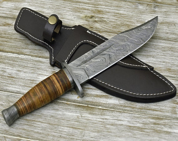 """CUSTOM BOWIE KNIFE, Hand Made, 12.0"""" Damascus steel hunting knife, Damascus Guard and stacked leather handle, full tang"""