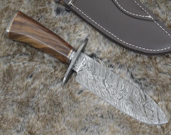 "DAMASCUS BOWIE KNIFE, Custom Damascus knife, 12.0"" , Hand forged, Damascus steel hunting knife, Damascus Guard & Pommel, Rose wood handle"