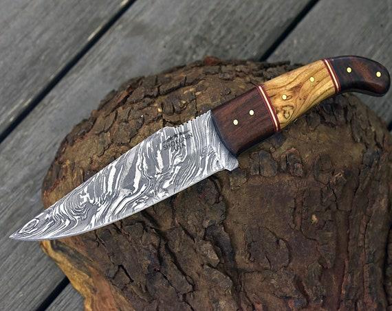 "DAMASCUS HUNTING KNIFE, Custom Damascus knife, 9.25"" ,Hand forged, Damascus steel knife, Rose wood, Olive wood composite handle swb3"