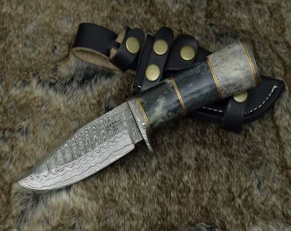 "DAMASCUS KNIFE, Custom Damascus steel knife, 10"", Hand forged, Damascus hunting knife, Damascus Guard & Pommel, Camel bone composite handle"