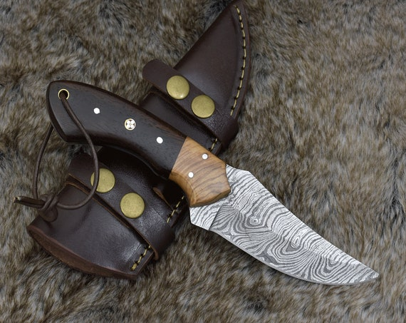 "9.0"" Custom Damascus Steel knife, Damascus knife skinning tactical camping utility hunting knife w/ hand stitched leather Personalized"