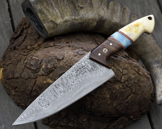 """Personalized 10.5"""" DAMASCUS CHEF KNIFE, Damascus steel French style chefs knife with Exotic Rose wood & Camel Bone composite handle."""