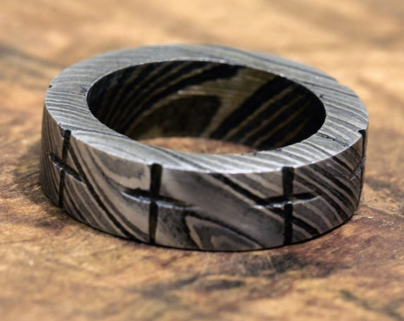 wedding band, Damascus band, Hand Forged & Finished Damascus Steel Ring, Hand Carved, US size 7.5 ring, engagement ring, rings, bands