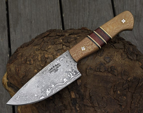 "CHEF KNIFE Pro chef kitchen knife, 8.5"" Custom, Exotic Leopard Wood handle, Hand forged Damascus Steel knife, Pairing utility knife"