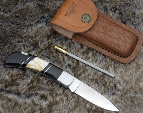 "Personalized Pocket knife, Drop Point, 7.25"", Folding Knife, groomsman gift, D2 Steel, hunting knife"