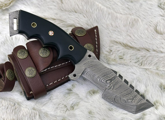 """Damascus Knife, Custom, Damascus Steel Tracker Knife, 9.5"""" , Composite Handle, Damascus hunting, chopping, survival knife personalize"""