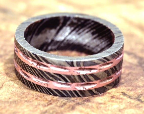 Damascus Ring, Hand Forged & Finished Damascus Steel Ring, Copper Inlay Hand Carved, US size 11.25 ring, wedding band, engagement ring